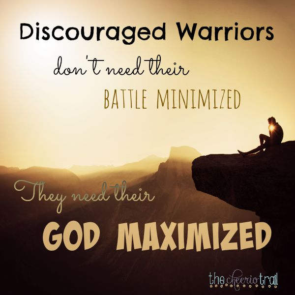 Are you feeling discouraged? Read more about how Elisha prayed for his servant, who needed his eyes opened and his heart strengthened with confidence in the Lord of Hosts. Overwhelmed warriors don't need their battle minimized; they need their God maximized. The same is true for you.