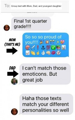 Dad and Mom text with daughter - parenting humor