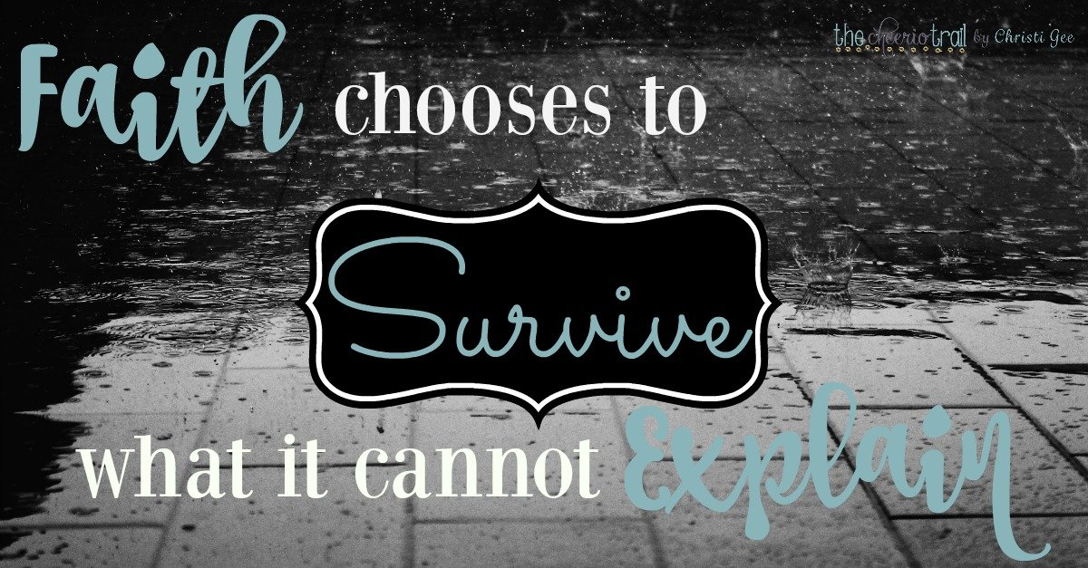 Hebrews 12 Survival-grade faith walks by faith not by answered prayers. Faith chooses to survive what it can't explain in middle of trials, suffering, pain
