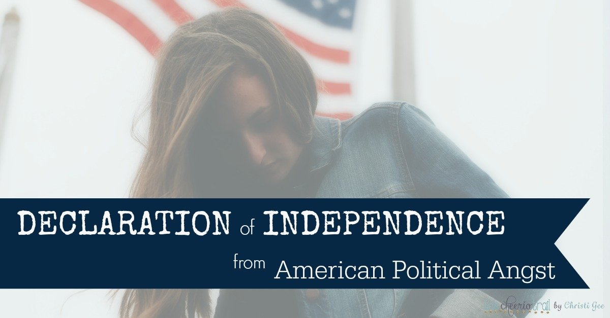 Are you tired of the fear & anxiety the U.S. election 2016 is producing? This declaration of independence from American politics offers a Scripture-based perspective and 11 Bible verses that bring hope and encouragement for Christians who are feeling like aliens in exile.