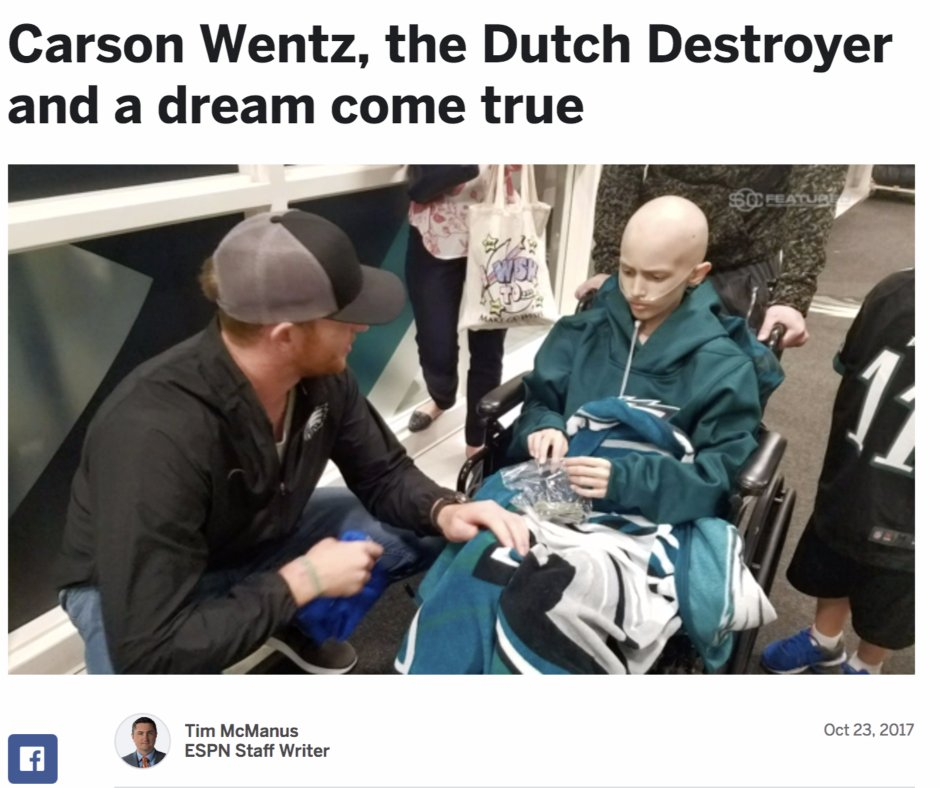 Carson Wentz grants dying cancer patient's wish. Dutch destroyer wristband gets noticed.